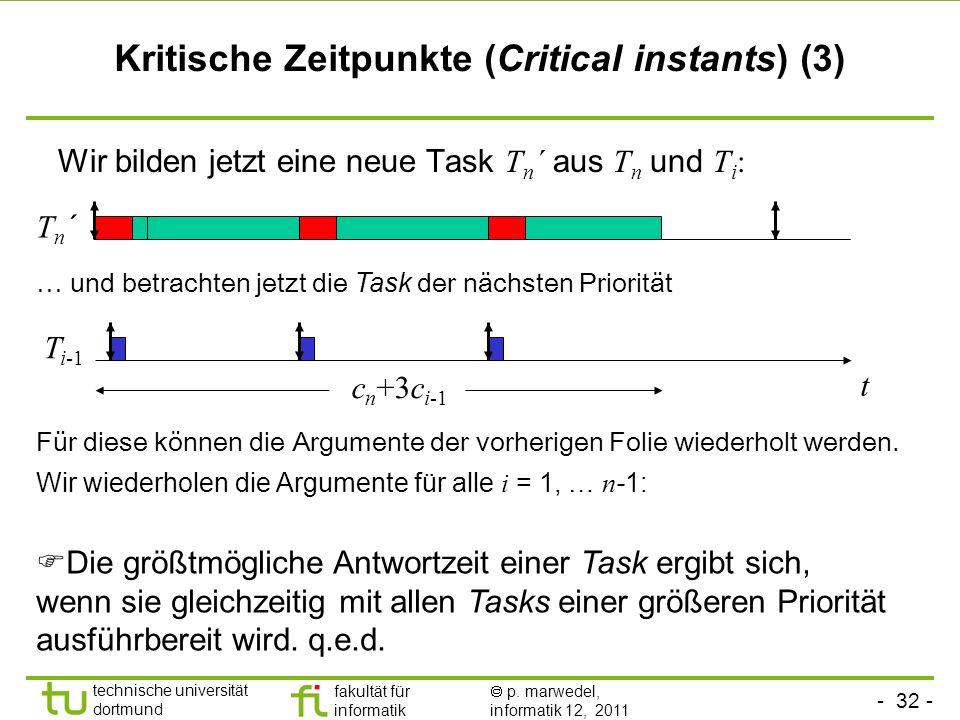 - 32 - technische universität dortmund fakultät für informatik p. marwedel, informatik 12, 2011 Kritische Zeitpunkte (Critical instants) (3) … und bet