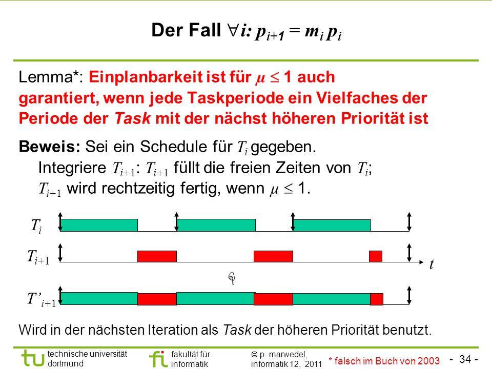 - 34 - technische universität dortmund fakultät für informatik p. marwedel, informatik 12, 2011 Der Fall i: p i+ 1 = m i p i Lemma*: Einplanbarkeit is