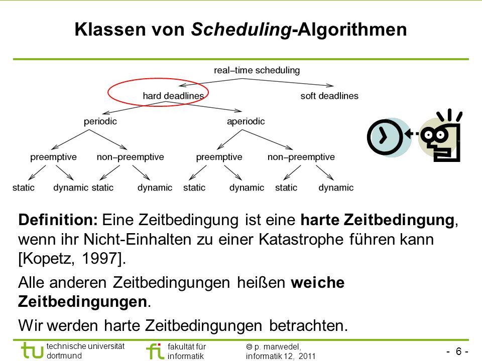 - 6 - technische universität dortmund fakultät für informatik p. marwedel, informatik 12, 2011 Klassen von Scheduling-Algorithmen Definition: Eine Zei