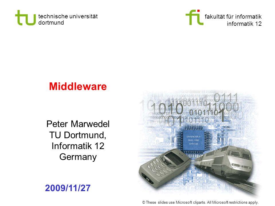 fakultät für informatik informatik 12 technische universität dortmund Universität Dortmund Middleware Peter Marwedel TU Dortmund, Informatik 12 Germany 2009/11/27 © These slides use Microsoft cliparts.