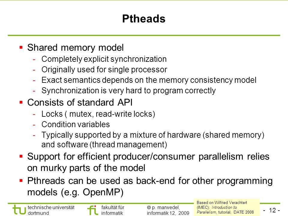 - 12 - technische universität dortmund fakultät für informatik p. marwedel, informatik 12, 2009 TU Dortmund Ptheads Shared memory model -Completely ex