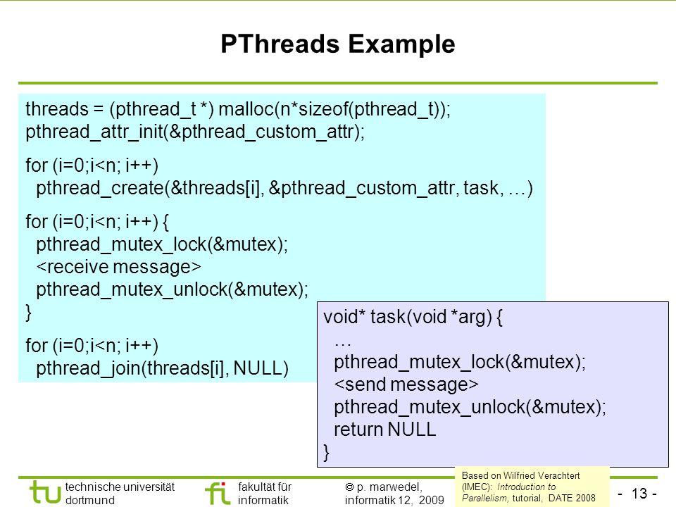- 13 - technische universität dortmund fakultät für informatik p. marwedel, informatik 12, 2009 TU Dortmund PThreads Example threads = (pthread_t *) m