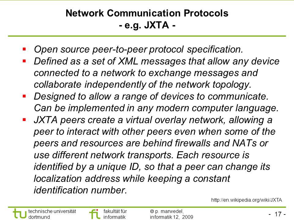 - 17 - technische universität dortmund fakultät für informatik p. marwedel, informatik 12, 2009 TU Dortmund Network Communication Protocols - e.g. JXT