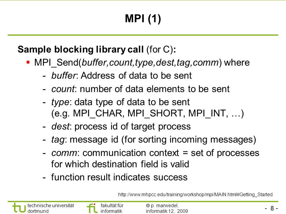 - 8 - technische universität dortmund fakultät für informatik p. marwedel, informatik 12, 2009 TU Dortmund MPI (1) Sample blocking library call (for C