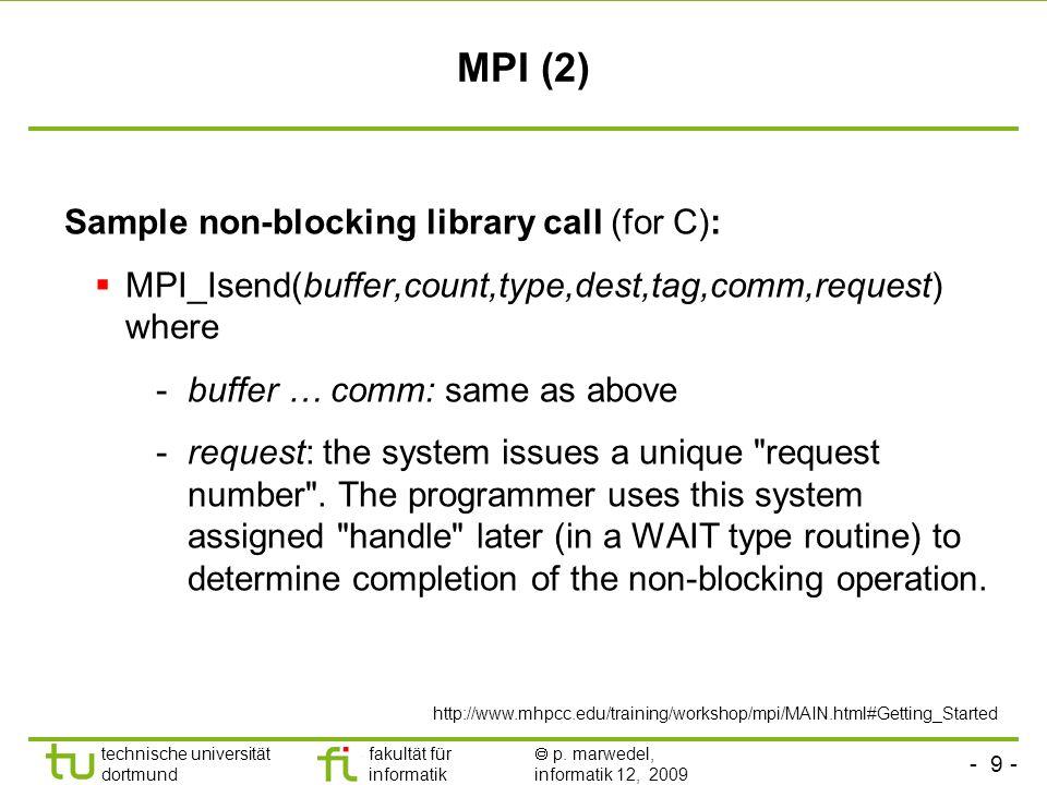 - 9 - technische universität dortmund fakultät für informatik p. marwedel, informatik 12, 2009 TU Dortmund MPI (2) Sample non-blocking library call (f