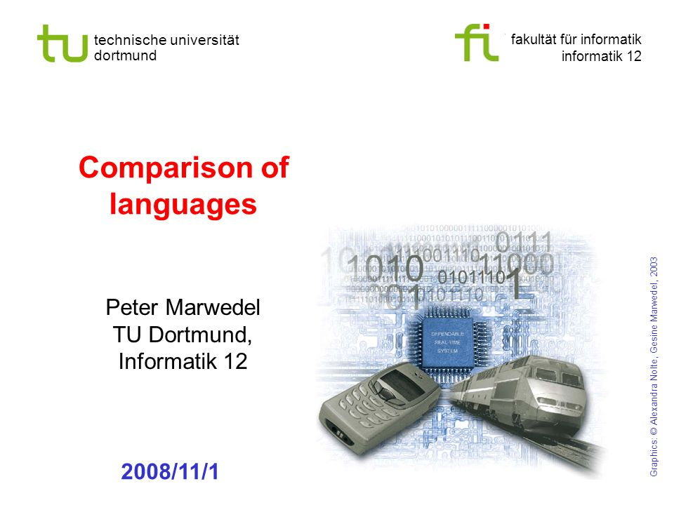 fakultät für informatik informatik 12 technische universität dortmund Comparison of languages Peter Marwedel TU Dortmund, Informatik 12 Graphics: © Al