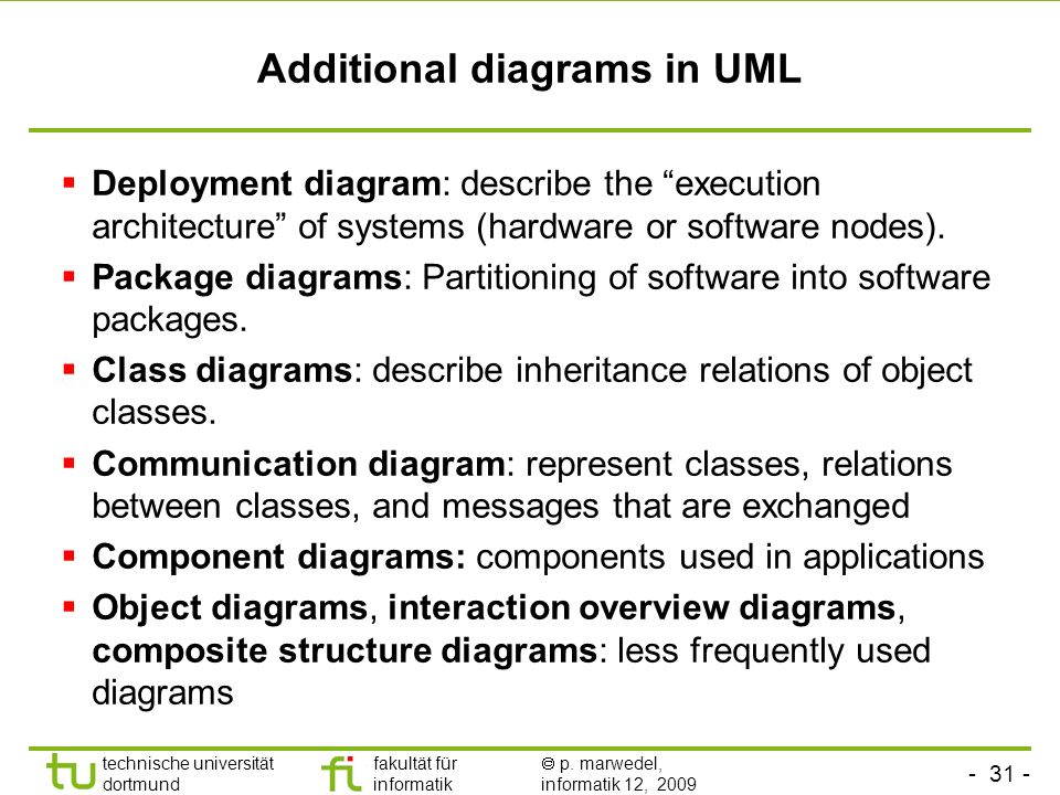 - 31 - technische universität dortmund fakultät für informatik p. marwedel, informatik 12, 2009 Additional diagrams in UML Deployment diagram: describ