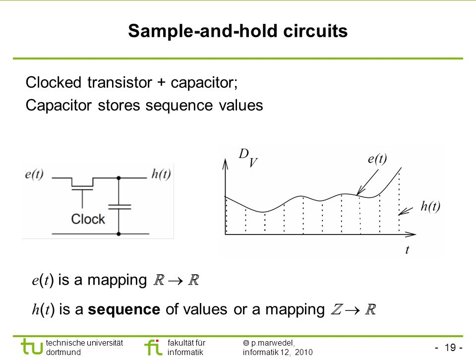 - 19 - technische universität dortmund fakultät für informatik p.marwedel, informatik 12, 2010 TU Dortmund Sample-and-hold circuits h ( t ) is a seque