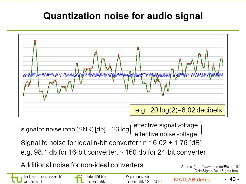 - 40 - technische universität dortmund fakultät für informatik p.marwedel, informatik 12, 2010 TU Dortmund Quantization noise for audio signal Signal to noise for ideal n-bit converter : n * 6.02 + 1.76 [dB] e.g.