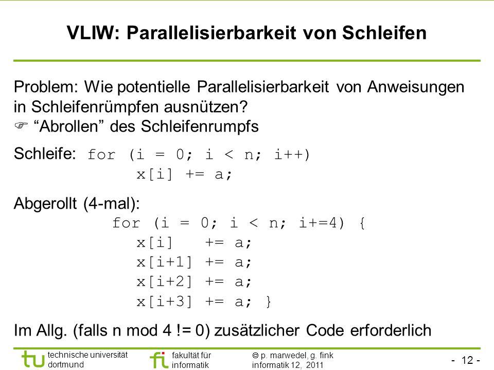 - 12 - technische universität dortmund fakultät für informatik p. marwedel, g. fink informatik 12, 2011 VLIW: Parallelisierbarkeit von Schleifen Probl