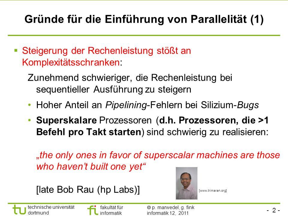 - 2 - technische universität dortmund fakultät für informatik p. marwedel, g. fink informatik 12, 2011 Gründe für die Einführung von Parallelität (1)
