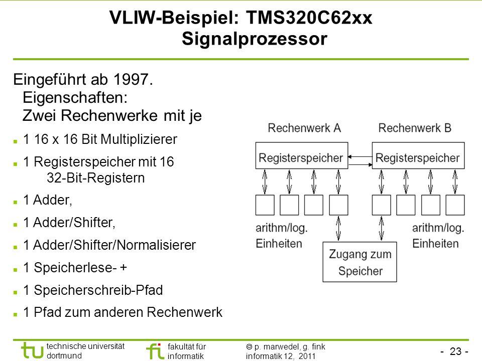 - 23 - technische universität dortmund fakultät für informatik p. marwedel, g. fink informatik 12, 2011 VLIW-Beispiel: TMS320C62xx Signalprozessor Ein