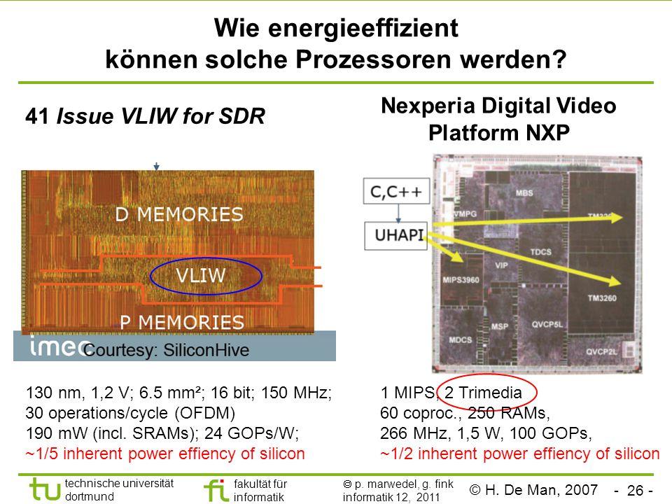 - 26 - technische universität dortmund fakultät für informatik p. marwedel, g. fink informatik 12, 2011 Wie energieeffizient können solche Prozessoren