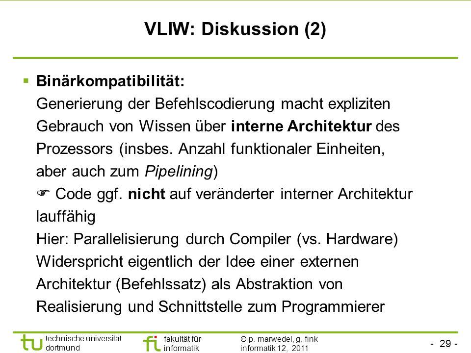 - 29 - technische universität dortmund fakultät für informatik p. marwedel, g. fink informatik 12, 2011 VLIW: Diskussion (2) Binärkompatibilität: Gene