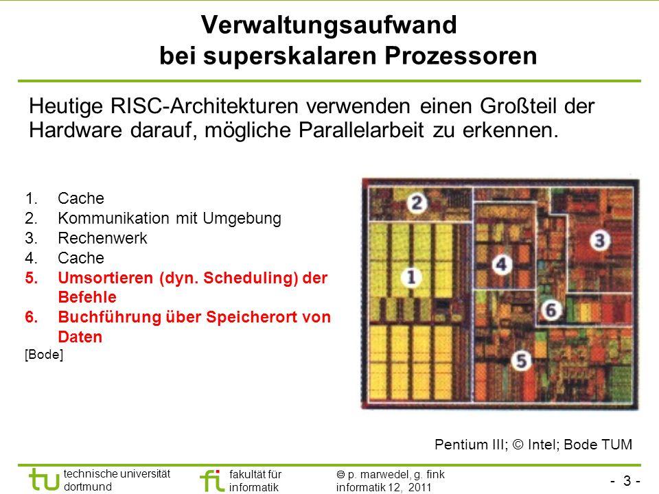 - 3 - technische universität dortmund fakultät für informatik p. marwedel, g. fink informatik 12, 2011 Verwaltungsaufwand bei superskalaren Prozessore