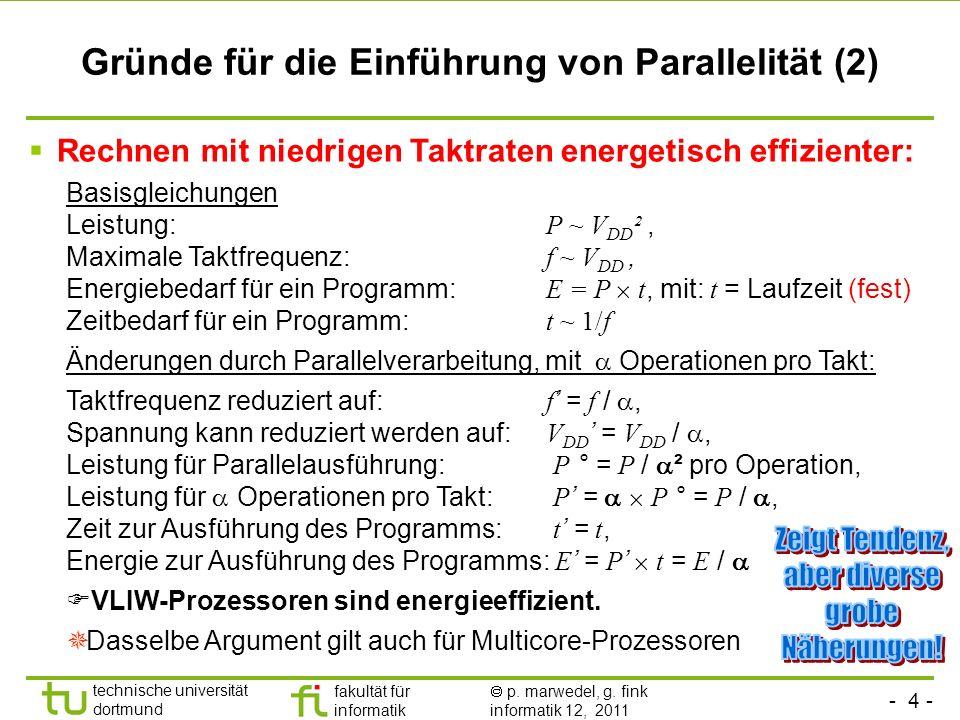 - 4 - technische universität dortmund fakultät für informatik p. marwedel, g. fink informatik 12, 2011 Gründe für die Einführung von Parallelität (2)