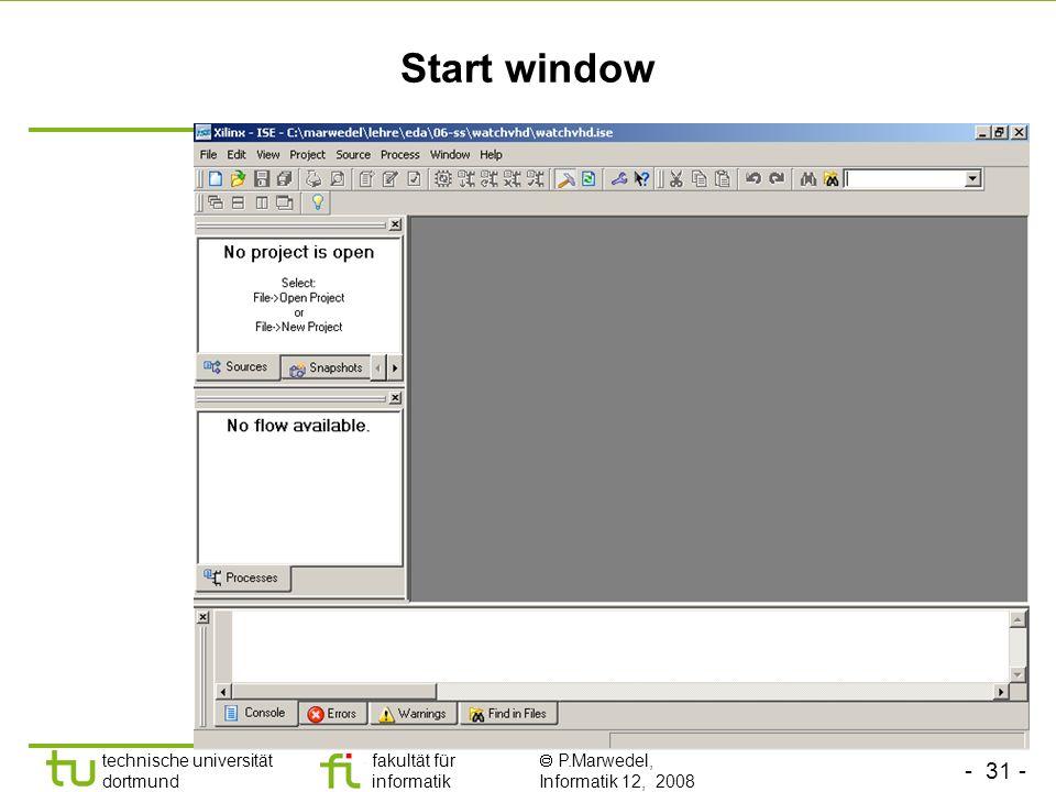- 31 - technische universität dortmund fakultät für informatik P.Marwedel, Informatik 12, 2008 Start window