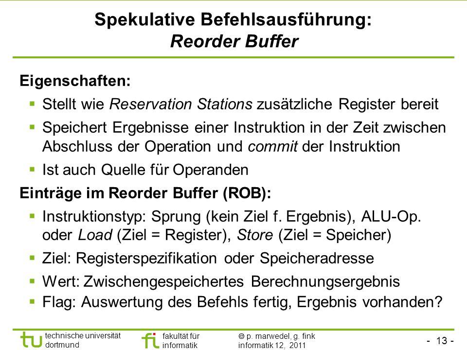 - 13 - technische universität dortmund fakultät für informatik p. marwedel, g. fink informatik 12, 2011 Spekulative Befehlsausführung: Reorder Buffer