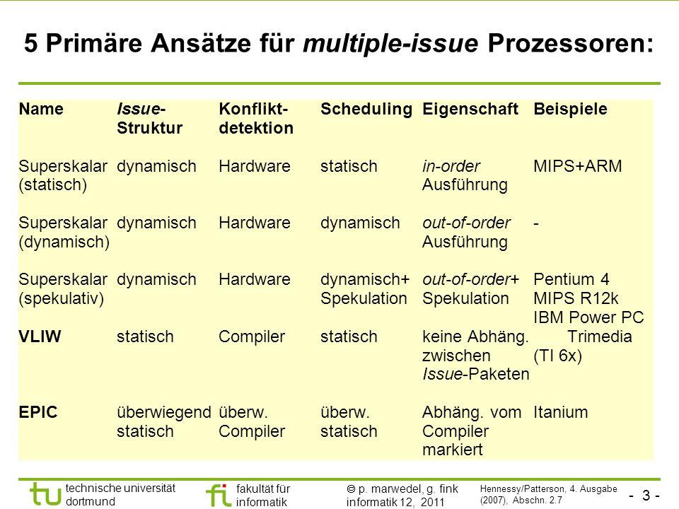 - 3 - technische universität dortmund fakultät für informatik p. marwedel, g. fink informatik 12, 2011 5 Primäre Ansätze für multiple-issue Prozessore