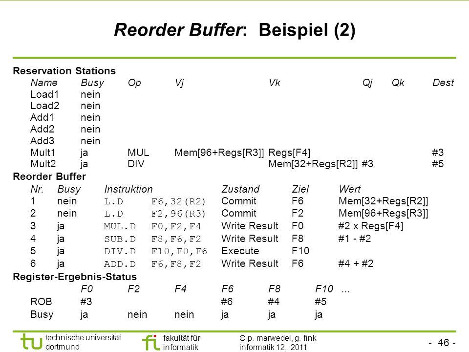 - 46 - technische universität dortmund fakultät für informatik p. marwedel, g. fink informatik 12, 2011 Reorder Buffer: Beispiel (2) Reservation Stati