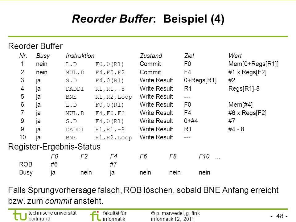 - 48 - technische universität dortmund fakultät für informatik p. marwedel, g. fink informatik 12, 2011 Reorder Buffer: Beispiel (4) Reorder Buffer Nr