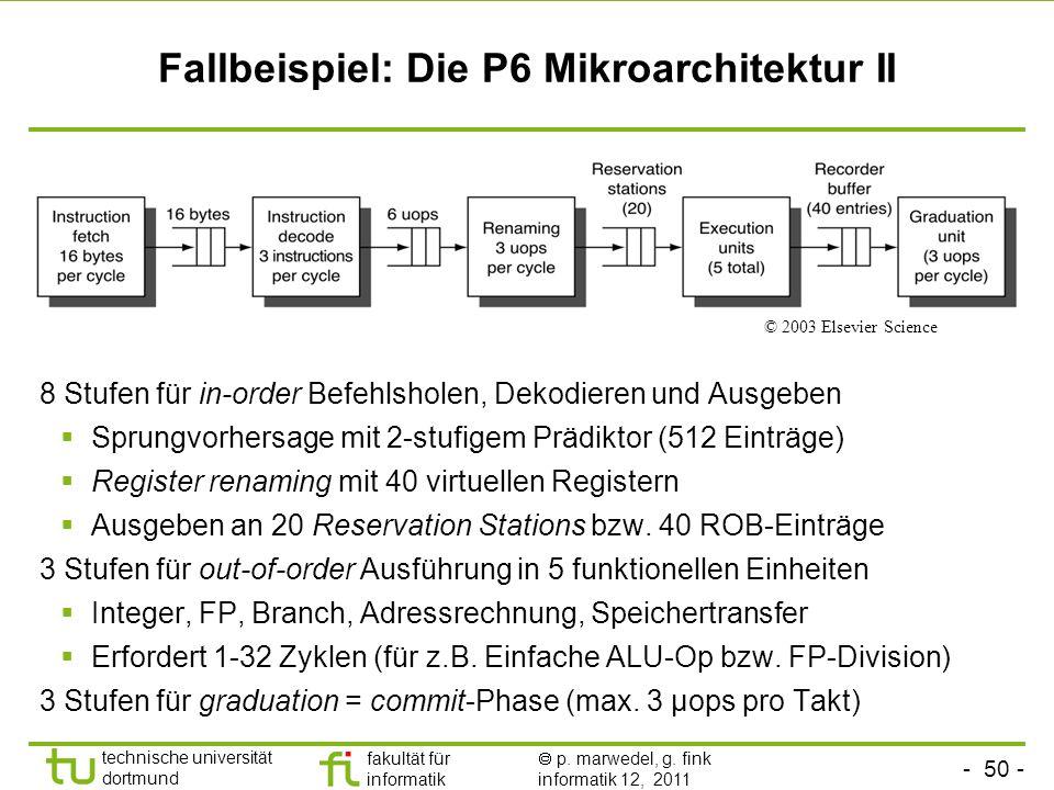 - 50 - technische universität dortmund fakultät für informatik p. marwedel, g. fink informatik 12, 2011 Fallbeispiel: Die P6 Mikroarchitektur II 8 Stu