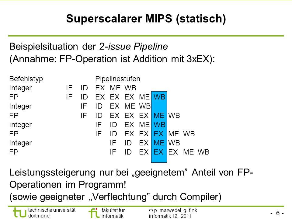 - 6 - technische universität dortmund fakultät für informatik p. marwedel, g. fink informatik 12, 2011 Superscalarer MIPS (statisch) Beispielsituation