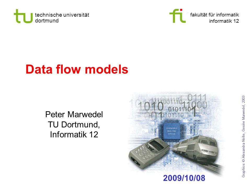 fakult ä t f ü r informatik informatik 12 technische universit ä t dortmund Data flow models Peter Marwedel TU Dortmund, Informatik 12 Graphics: © Alexandra Nolte, Gesine Marwedel, 2003 2009/10/08