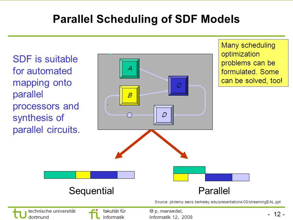 - 12 - technische universität dortmund fakultät für informatik p. marwedel, informatik 12, 2008 Parallel Scheduling of SDF Models A C D B SequentialPa