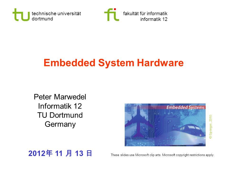 - 32 - technische universität dortmund fakultät für informatik P.Marwedel, Informatik 12, 2012 TU Dortmund Resolution and speed of Flash A/D-converter Parallel comparison with reference voltage Speed: O(1) Hardware complexity: O( n ) Applications: e.g.