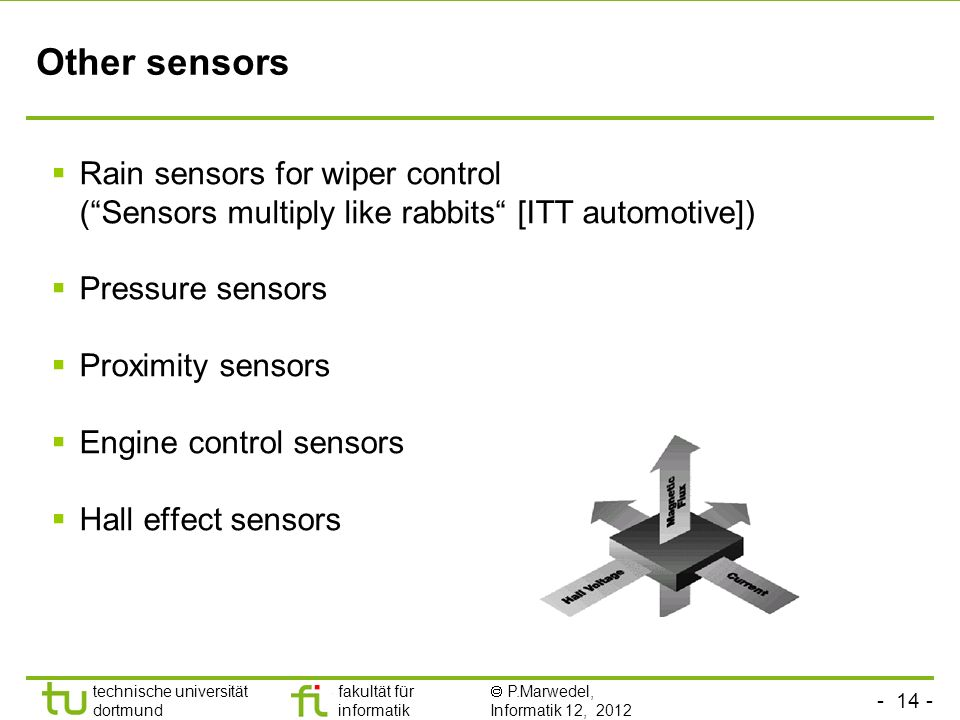 - 14 - technische universität dortmund fakultät für informatik P.Marwedel, Informatik 12, 2012 TU Dortmund Other sensors Rain sensors for wiper control (Sensors multiply like rabbits [ITT automotive]) Pressure sensors Proximity sensors Engine control sensors Hall effect sensors