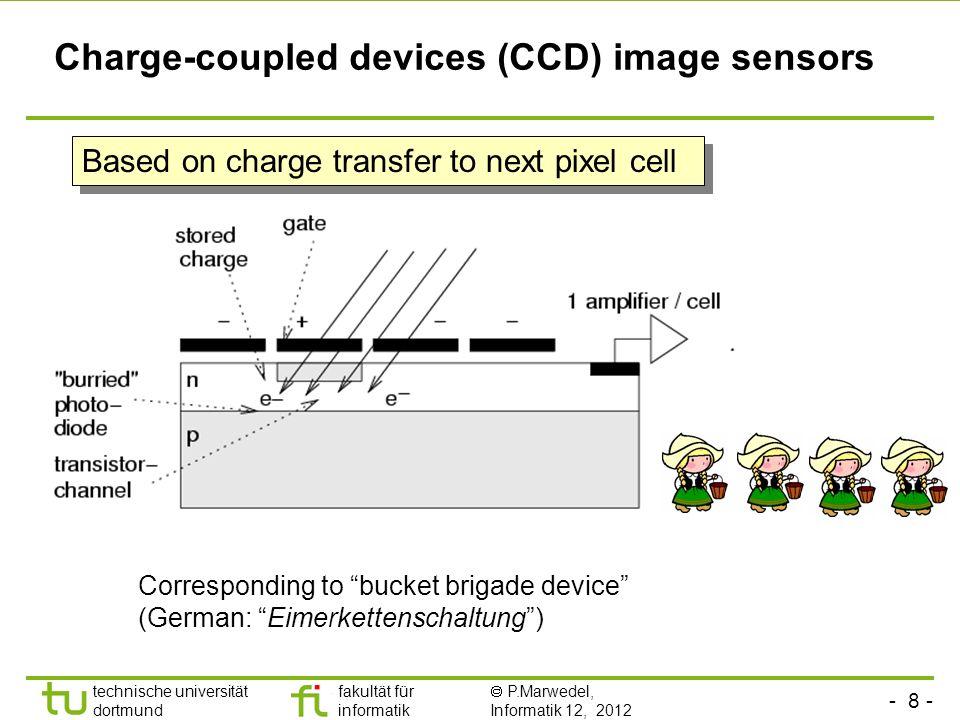 - 9 - technische universität dortmund fakultät für informatik P.Marwedel, Informatik 12, 2012 TU Dortmund CMOS image sensors Based on standard production process for CMOS chips, allows integration with other components.