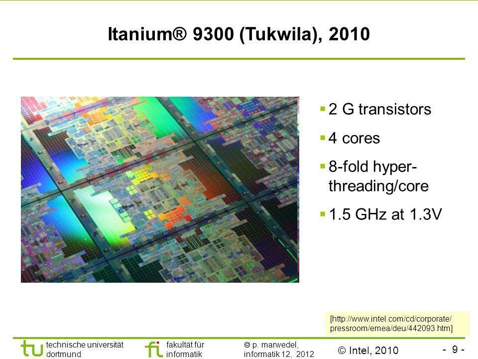 - 9 - TU Dortmund technische universität dortmund fakultät für informatik p. marwedel, informatik 12, 2012 Itanium® 9300 (Tukwila), 2010 [http://www.i