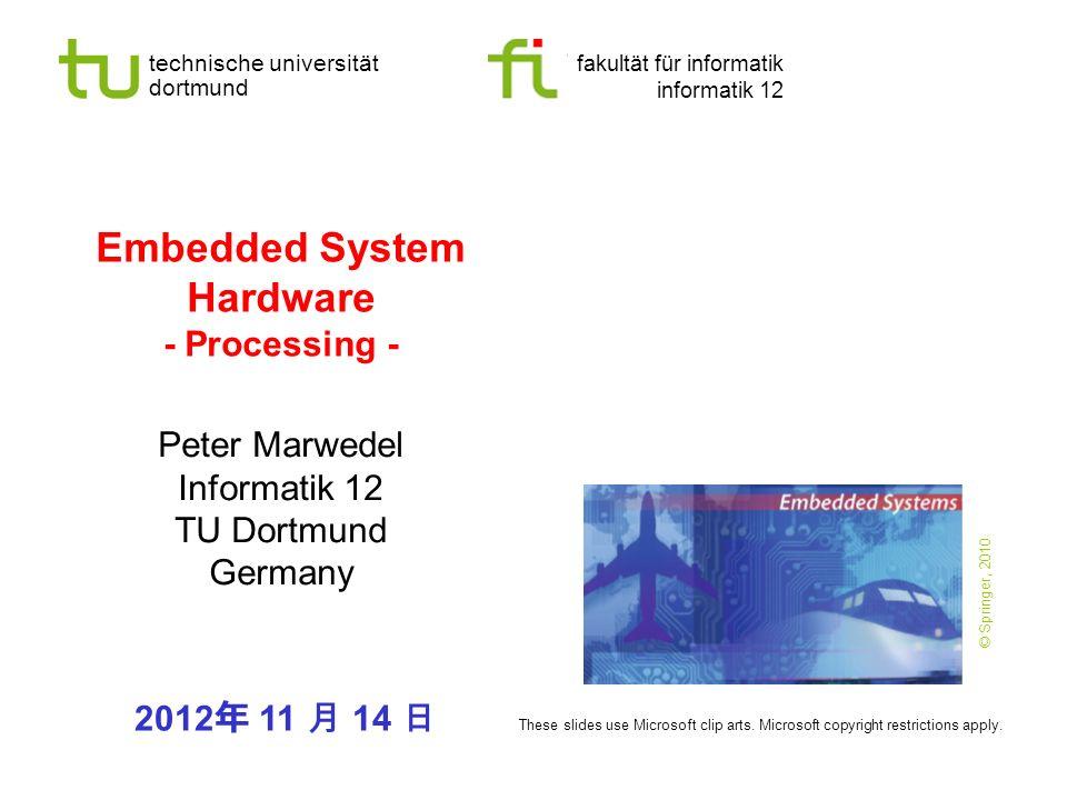 - 32 - technische universität dortmund fakultät für informatik P.Marwedel, Informatik 12, 2012 TU Dortmund Filtering in digital signal processing -- outer loop over -- sampling times t s { MR:=0; A1:=1; A2:= s -1; MX:= w [ s ]; MY:= a [0]; for ( k =0; k <= ( n 1 ); k ++) { MR:=MR + MX * MY; MX:= w [A2]; MY:= a [A1]; A1++; A2 -- ; } x [ s ]:=MR; } Maps nicely ADSP 2100