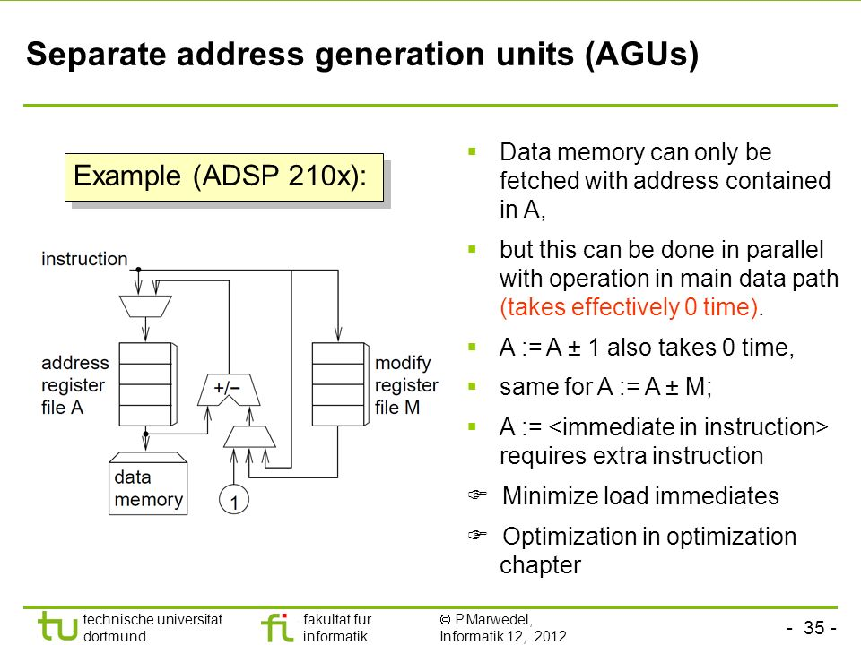 - 35 - technische universität dortmund fakultät für informatik P.Marwedel, Informatik 12, 2012 TU Dortmund Separate address generation units (AGUs) Data memory can only be fetched with address contained in A, but this can be done in parallel with operation in main data path (takes effectively 0 time).