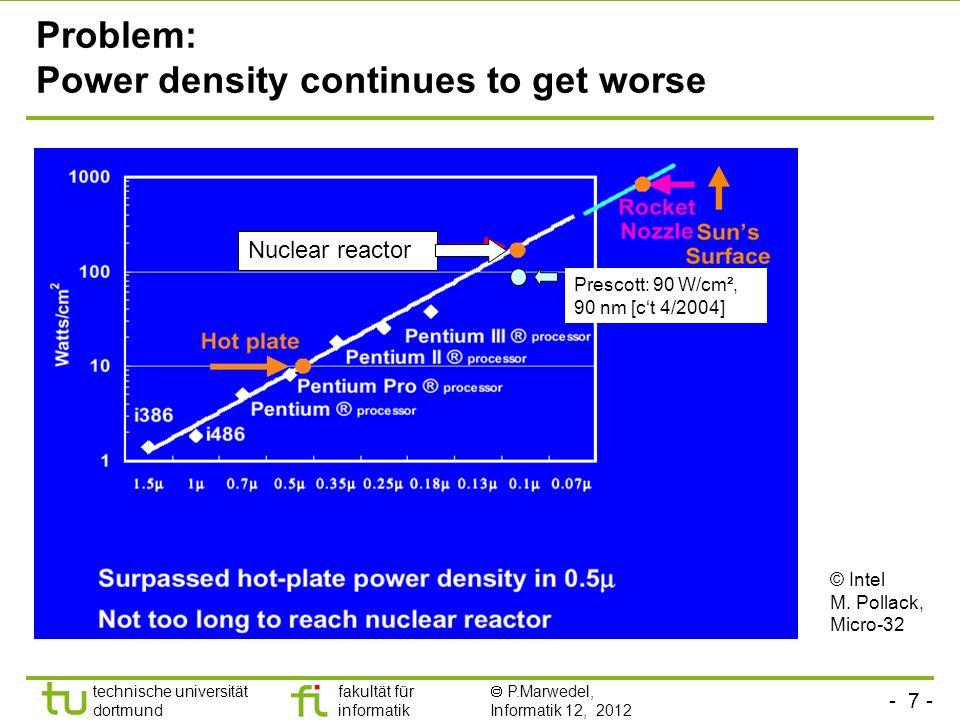 - 7 - technische universität dortmund fakultät für informatik P.Marwedel, Informatik 12, 2012 TU Dortmund Prescott: 90 W/cm², 90 nm [ct 4/2004] Nuclear reactor Problem: Power density continues to get worse © Intel M.