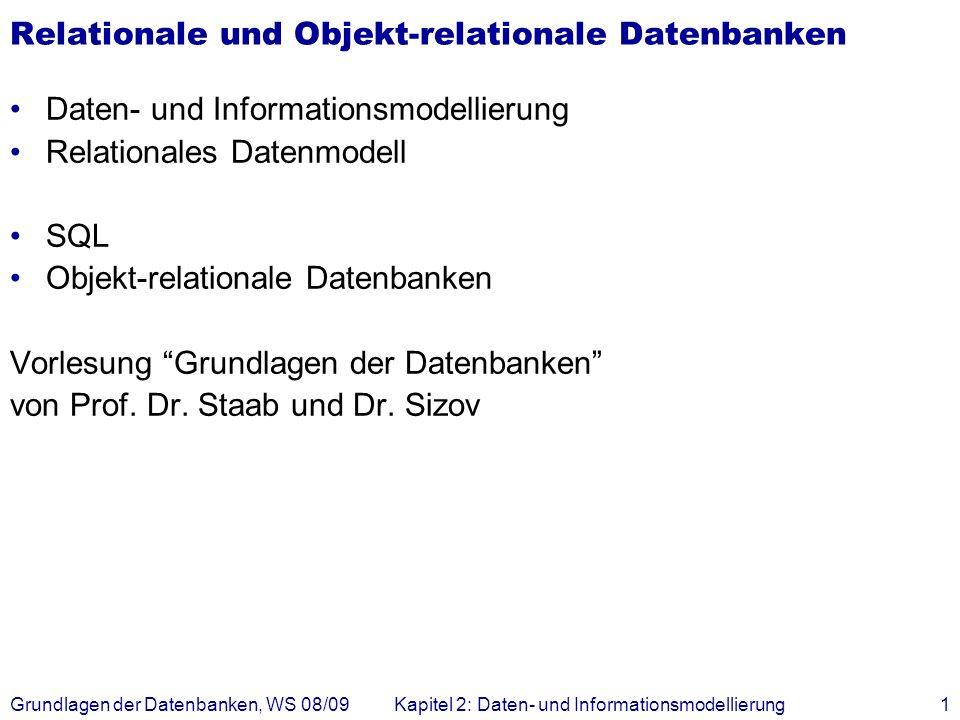 Grundlagen der Datenbanken, WS 08/09Kapitel 3: Grundlagen des Relationalen Modells22 Generalisierung in RA Lösungsmöglichkeit 1: vertikale Partitionierung jede Instanz wird entsprechend der Klassenattribute in der IS-A- Hierarchie zerlegt und in Teilen in den zugehörigen Klassen (Relationen) gespeichert.