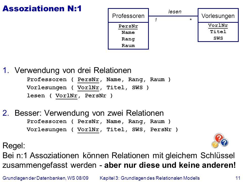 Grundlagen der Datenbanken, WS 08/09Kapitel 3: Grundlagen des Relationalen Modells11 Assoziationen N:1 1.Verwendung von drei Relationen Professoren (