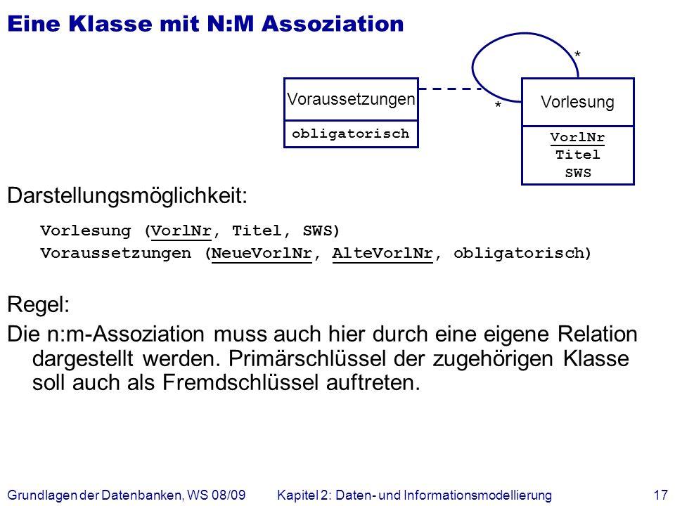 Grundlagen der Datenbanken, WS 08/09Kapitel 2: Daten- und Informationsmodellierung17 Eine Klasse mit N:M Assoziation Darstellungsmöglichkeit: Vorlesun