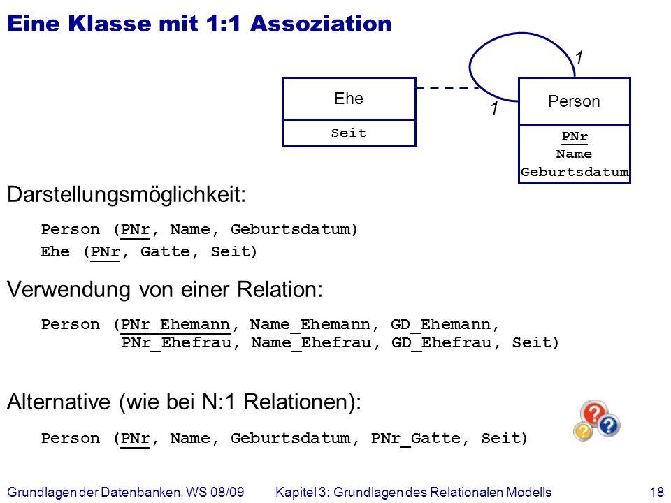 Grundlagen der Datenbanken, WS 08/09Kapitel 3: Grundlagen des Relationalen Modells18 Eine Klasse mit 1:1 Assoziation Darstellungsmöglichkeit: Person (