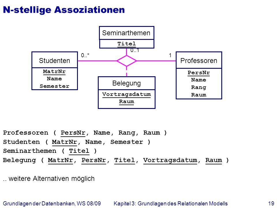 Grundlagen der Datenbanken, WS 08/09Kapitel 3: Grundlagen des Relationalen Modells19 N-stellige Assoziationen Professoren ( PersNr, Name, Rang, Raum )