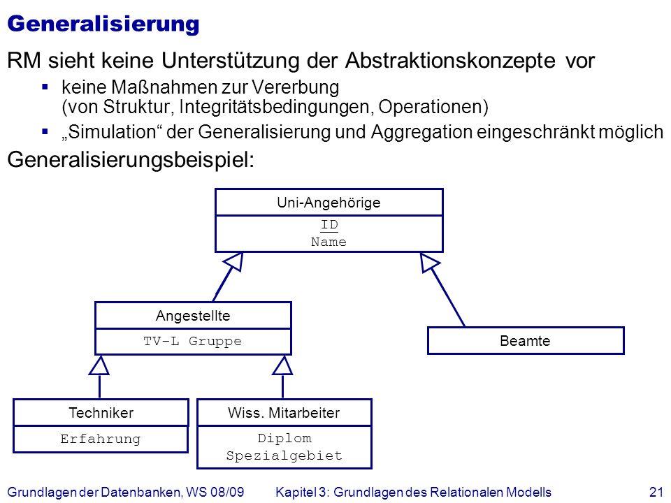 Grundlagen der Datenbanken, WS 08/09Kapitel 3: Grundlagen des Relationalen Modells21 Generalisierung RM sieht keine Unterstützung der Abstraktionskonz