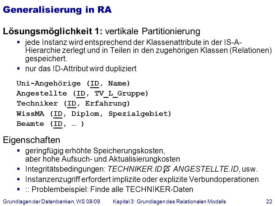 Grundlagen der Datenbanken, WS 08/09Kapitel 3: Grundlagen des Relationalen Modells22 Generalisierung in RA Lösungsmöglichkeit 1: vertikale Partitionie