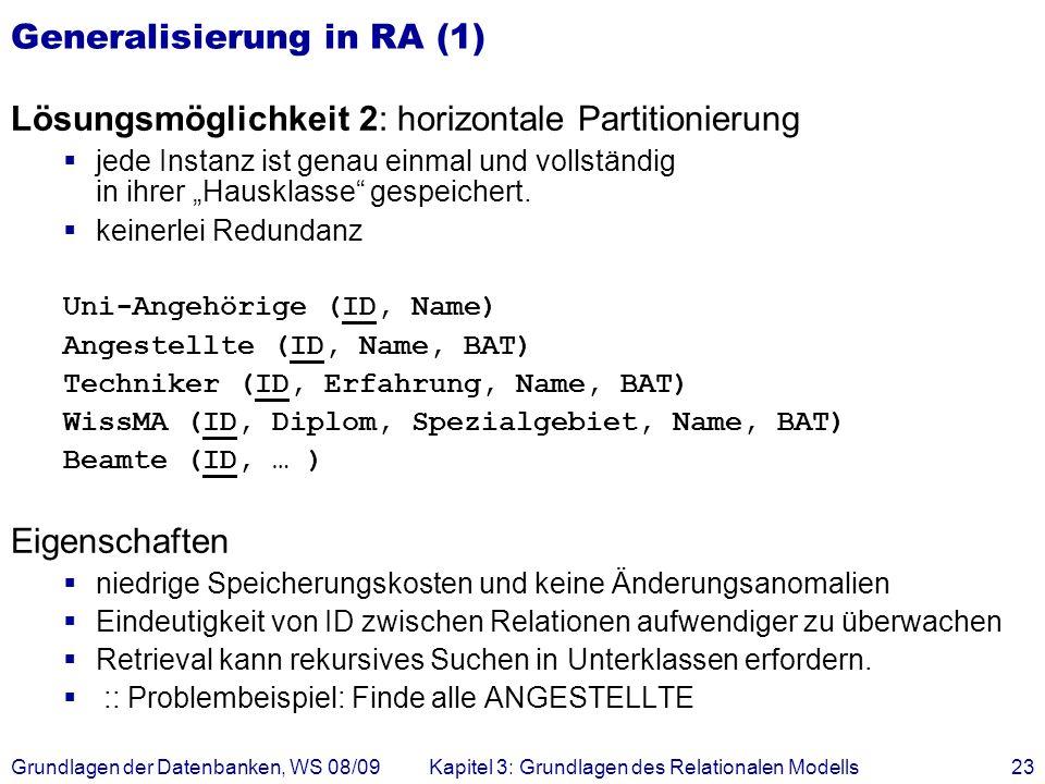 Grundlagen der Datenbanken, WS 08/09Kapitel 3: Grundlagen des Relationalen Modells23 Generalisierung in RA (1) Lösungsmöglichkeit 2: horizontale Parti