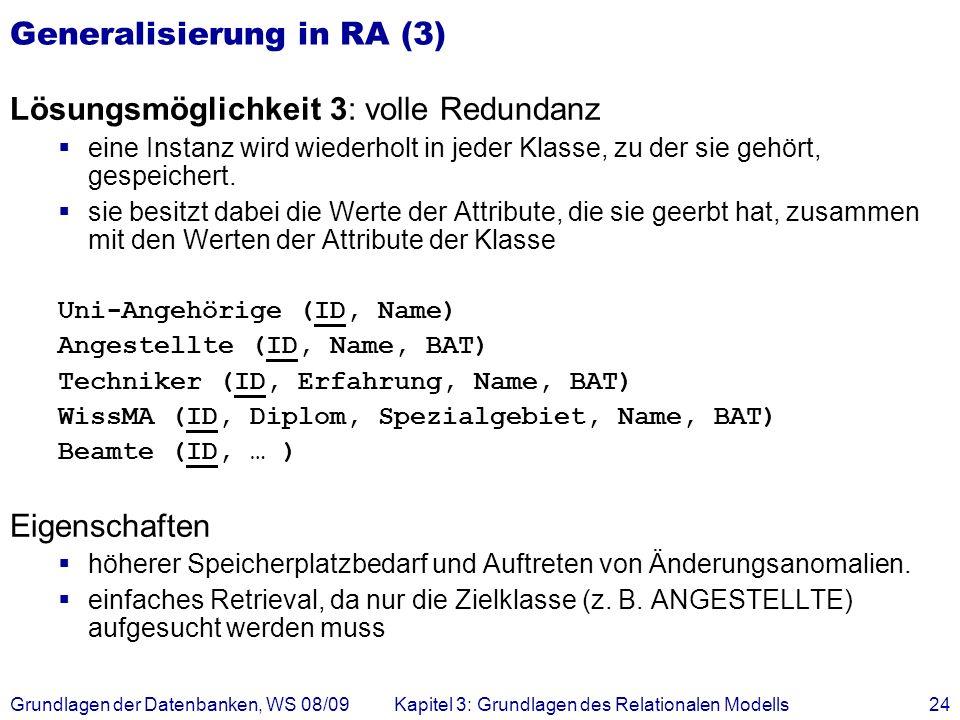 Grundlagen der Datenbanken, WS 08/09Kapitel 3: Grundlagen des Relationalen Modells24 Generalisierung in RA (3) Lösungsmöglichkeit 3: volle Redundanz e