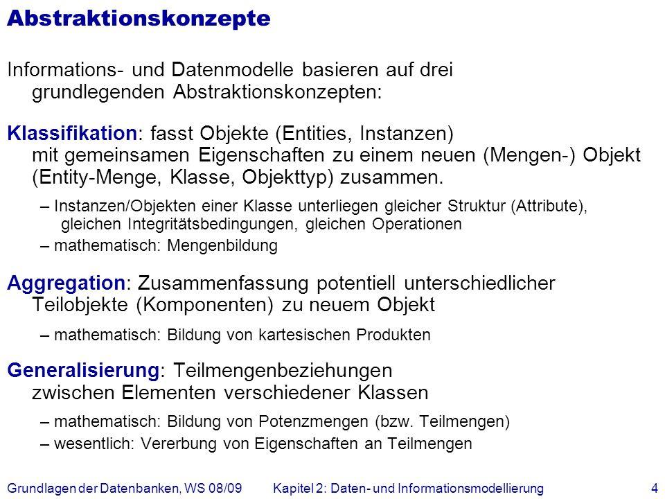 Grundlagen der Datenbanken, WS 08/09Kapitel 2: Daten- und Informationsmodellierung15 N:M Assoziationen Verwendung von drei Relationen Studenten ( MatrNr, Name, Semester ) Vorlesungen ( VorlNr, Titel, SWS ) hören ( VorlNr, MatrNr ) Regel: Eine n:m-Assoziation muss durch eine eigene Relation dargestellt werden.