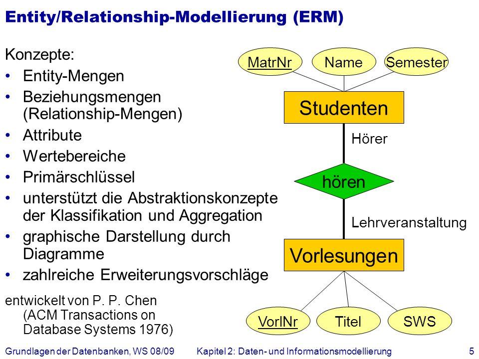 Grundlagen der Datenbanken, WS 08/09Kapitel 2: Daten- und Informationsmodellierung5 Entity/Relationship-Modellierung (ERM) Konzepte: Entity-Mengen Bez