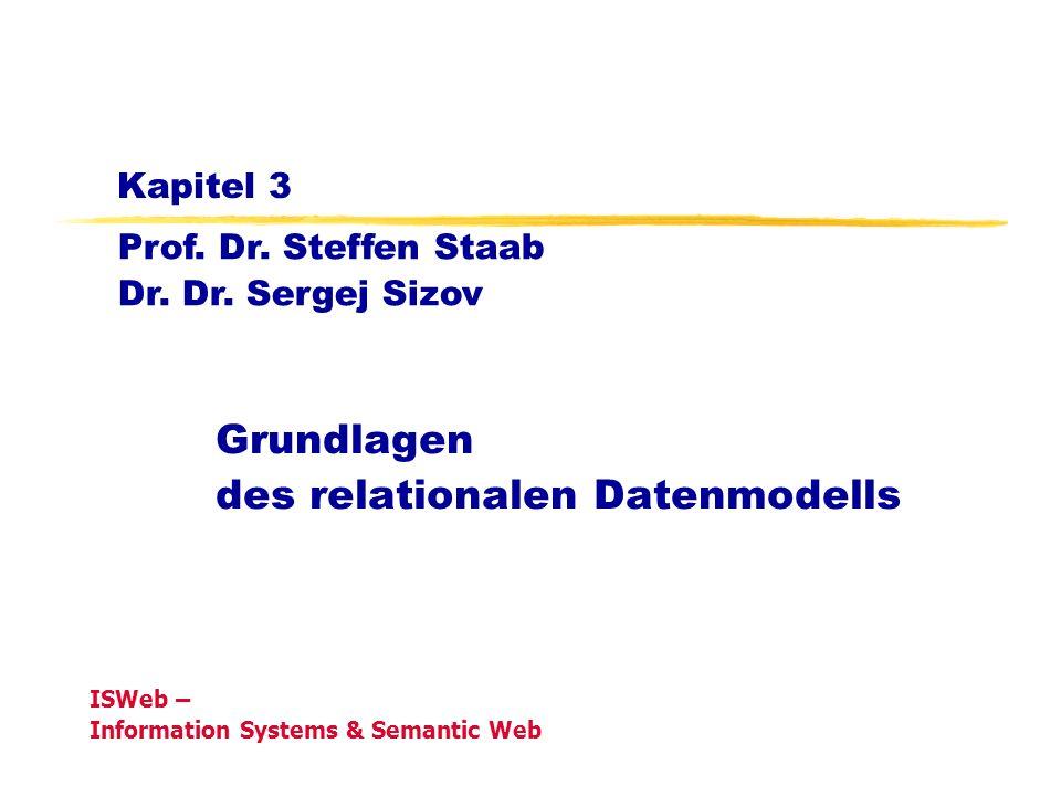 Grundlagen der Datenbanken, WS 08/09Kapitel 3: Grundlagen des Relationalen Modells18 Eine Klasse mit 1:1 Assoziation Darstellungsmöglichkeit: Person (PNr, Name, Geburtsdatum) Ehe (PNr, Gatte, Seit) Verwendung von einer Relation: Person (PNr_Ehemann, Name_Ehemann, GD_Ehemann, PNr_Ehefrau, Name_Ehefrau, GD_Ehefrau, Seit) Alternative (wie bei N:1 Relationen): Person (PNr, Name, Geburtsdatum, PNr_Gatte, Seit) Person Ehe 1 1 Seit PNr Name Geburtsdatum