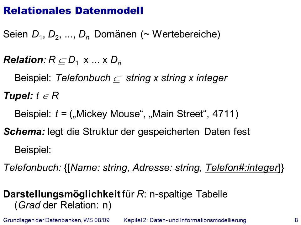Grundlagen der Datenbanken, WS 08/09Kapitel 2: Daten- und Informationsmodellierung8 Relationales Datenmodell Seien D 1, D 2,..., D n Domänen (~ Werteb