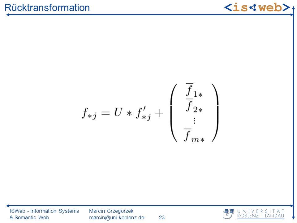 ISWeb - Information Systems & Semantic Web Marcin Grzegorzek marcin@uni-koblenz.de23 Rücktransformation